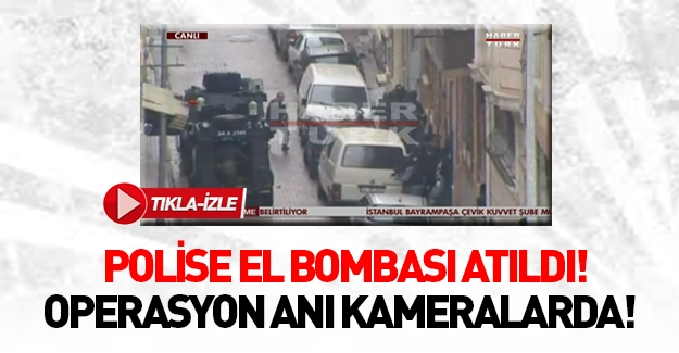 Bayrampaşa'da polise atılan el bombasının patlama anı