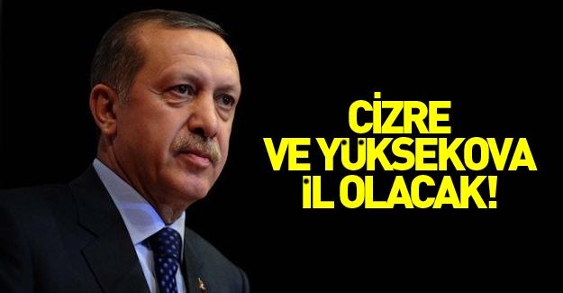 Erdoğan Yüksekova ve Cizre'nin il olacağını duyurdu