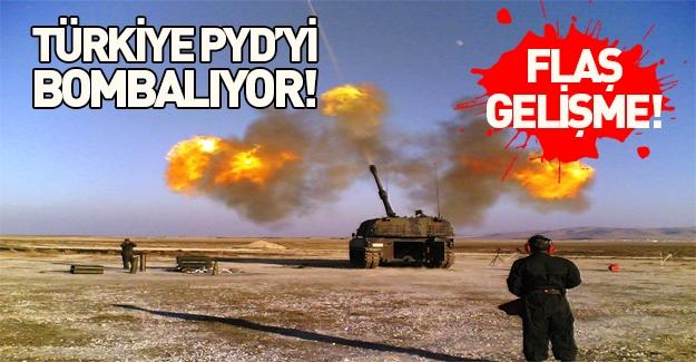 Fırtına obüsleri Azez'deki PYD mevzilerini vuruyor!