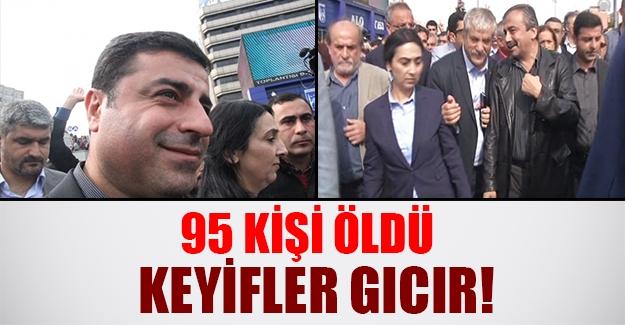 Dün sanki katliam yaşanmadı! İşte Demirtaş ve Önder'in gülümseyen suratları