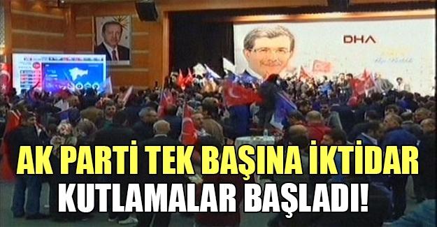 AK Parti'de büyük sevinç.. AK Parti tek başına iktidar oldu..