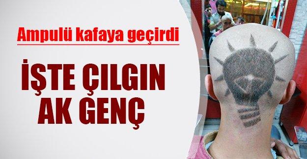 """AK Parti'nin ampulünü kafasına geçirdi! İşte Konyalı çılgın """"Ak Genç"""""""