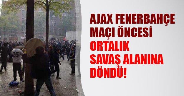 Fenerbahçeli taraftarlarla Hollandalı fanatikler birbirlerine girdi! Maç öncesi büyük skandal...