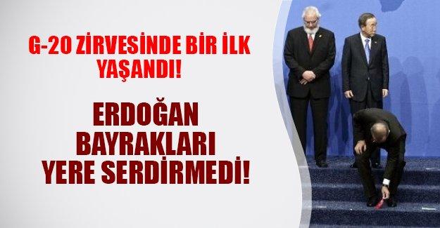 G-20'de bir ilk yaşandı! Erdoğan bayrakları yere serdirmedi (15.11.2015)