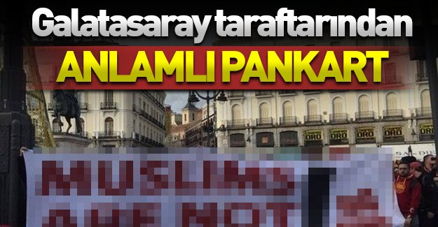 Galatasaray taraftarından anlamlı pankart! Atletico Madrid maçı öncesi açıldı!