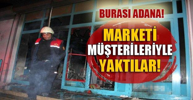 Teröristler önce marketi gasp etti sonra yaktı