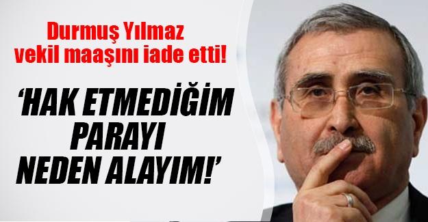 MHP'li Durmuş Yılmaz'dan örnek davranış! Yılmaz peşin ödenen milletvekili maaşını iade etti