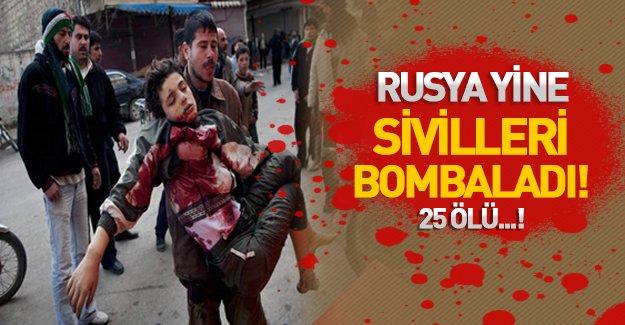 Rusya Suriye'de sivilleri ve yardım araçlarını vurdu: 25 ölü