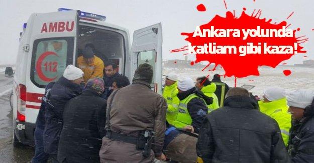 Ankara yolunda katliam gibi bir kaza meydana geldi!