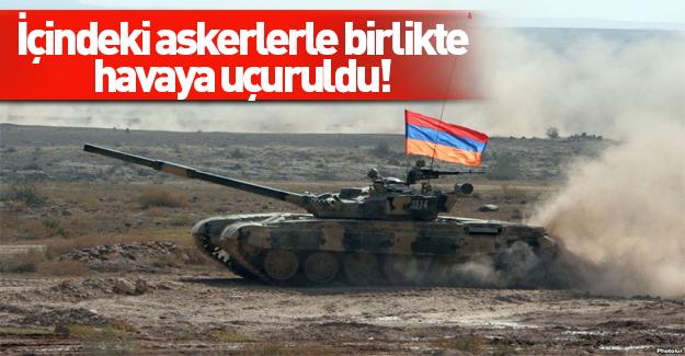 Azerbaycan ordusu Ermeni tankını içindeki askerlerle birlikte imha etti
