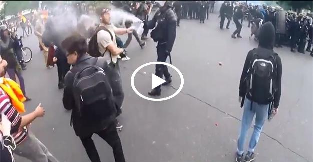 Fransız polisi göstericiye kafa attı, yüzüne gaz sıktı!