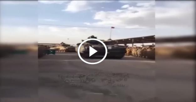 Türk tankları Suriye'ye mehter marşı ile uğurlandı