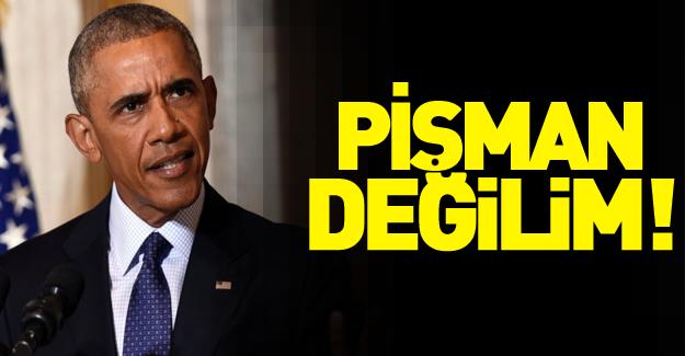 Obama'dan Suriye açıklaması: Pişman değilim