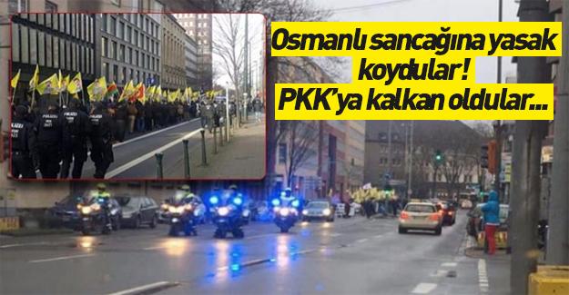 Osmanlı sancağına yasak, PKK'ya kalkan oldular!