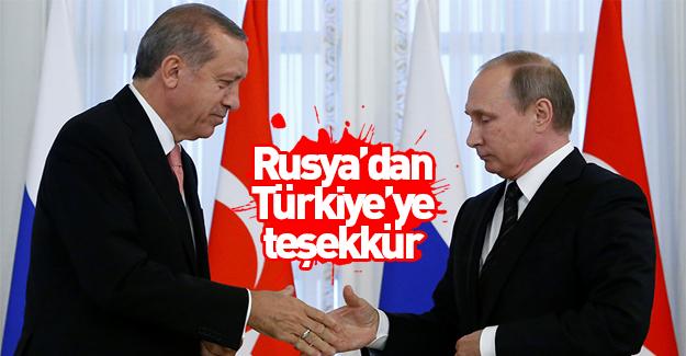 Rusya'dan Türkiye'ye teşekkür