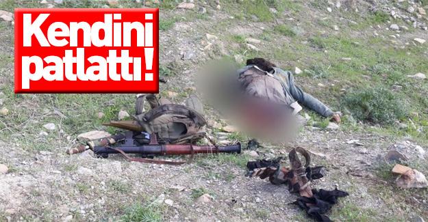Bomba döşeyen terörist kendisini patlattı
