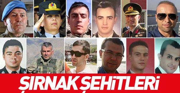Şırnak'ta şehit düşen askerlerin isimleri açıklandı