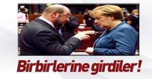 Schulz ile Merkel birbirlerine girdi!