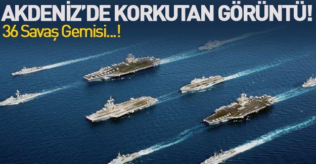 Akdeniz'de alarm! Tam 36 savaş gemisi...