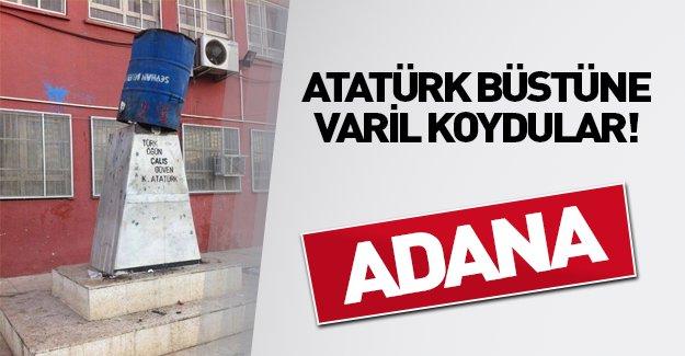 Atatürk büstünün üzerine varil koydular! - Adana Haberleri -