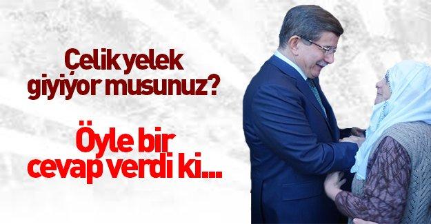 Başbakan Ahmet Davutoğlu'na çelik yelek sorusu...