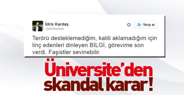 Bilgi Üniversitesi PKK karşıtı akademisyeni görevden aldı