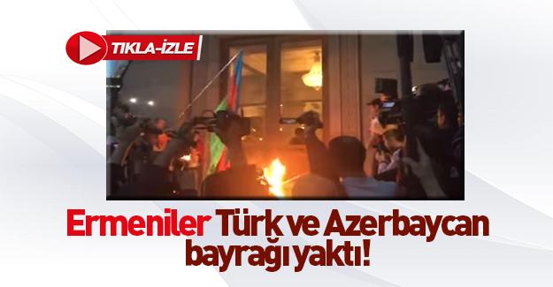 Ermenistan'da Türkiye ve Azerbaycan bayraklarını yaktılar