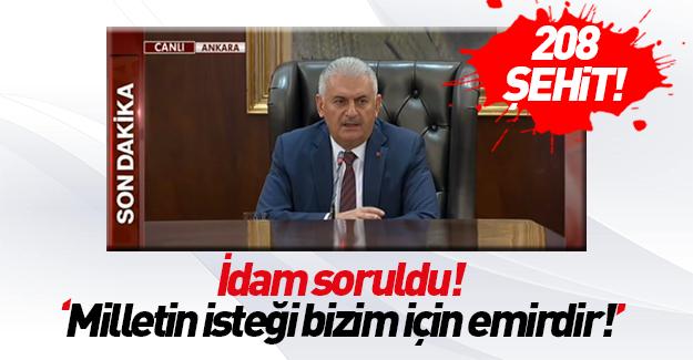 Başbakan Yıldırım açıkladı: 208 şehit