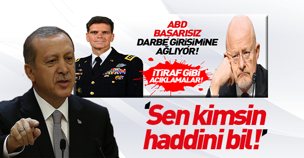 Erdoğan'dan ABD'li komutana sert tepki