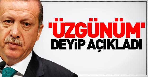 Erdoğan 'üzgünüm' deyip açıkladı