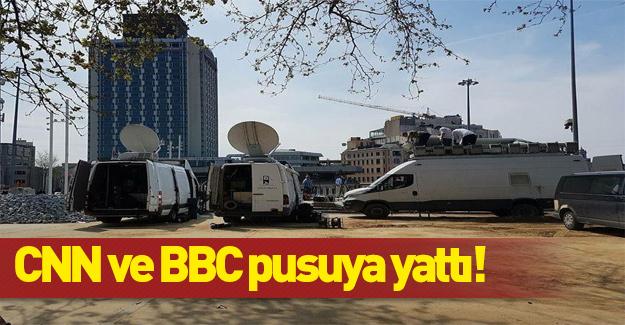 BBC/CNN Taksim'de canlı yayın araçlarını hazırladı
