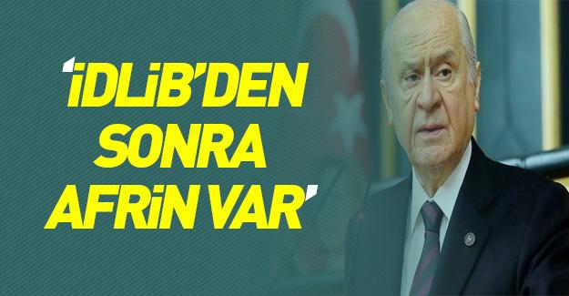 Devlet Bahçeli Afrin'i işaret etti