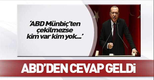 Erdoğan'ın Münbiç restine ABD'den cevap