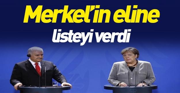 Binali Yıldırım'dan Merkel'e liste