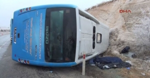 Sporcuların otobüsü devrildi: 1 ölü 16 yaralı!