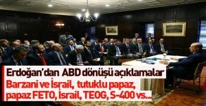 Cumhurbaşkanı Erdoğan'dan ABD dönüşü açıklamalar