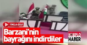 Barzani'nin bayrağını indirdiler!
