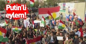 Barzani yandaşlarının Putin'li eylemi